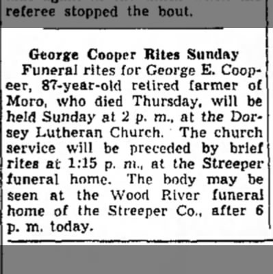 - George Cooper Rites Sunday Funeral rites for...