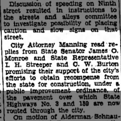 F Manning - street, City Attorney Manning read-replies...