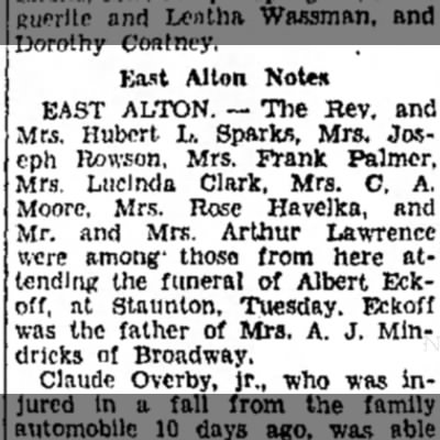 East Alton folks who attended Albert Eckhoff funeral -
