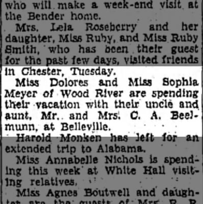 Dolores and Sophia Meyer - In Chester, Tuesday. Miss Dolores and Miss...
