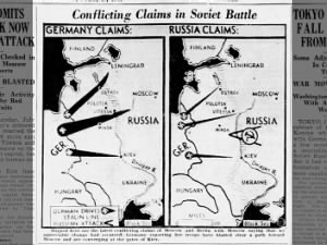 Maps showing conflicting claims of Soviets and Nazis during Operation Barbarossa