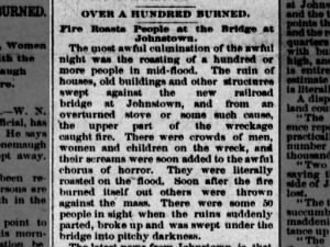 Dozens burned to death when fire breaks out on Johnstown bridge during flood of 1889
