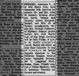 Lawrence Sweeney - Obituary, 1967