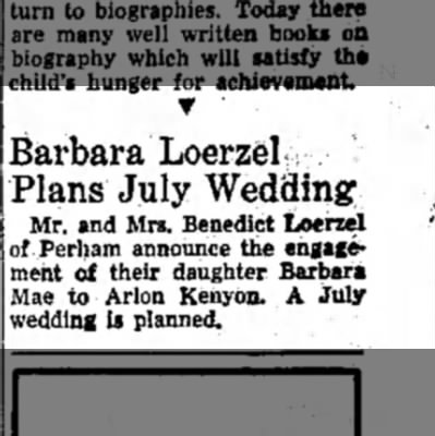 15 June 1963 - T ' Barbara Loerzelf Plans July Wedding Mr, and...