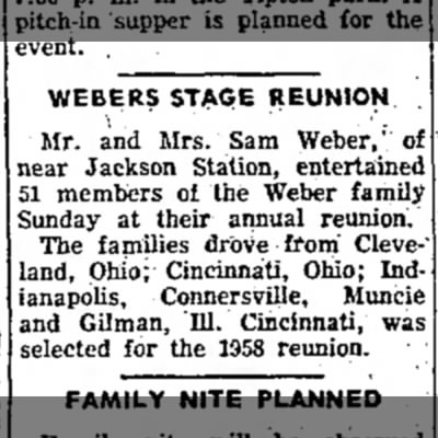 - WEBERS STAGE REUNION \ ' Mr. and Mrs. Sam...