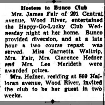 Hostess to Bunco Club- Lydia (Mrs. James) Fair, Hostess -
