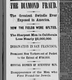 Headlines about the Diamond Hoax