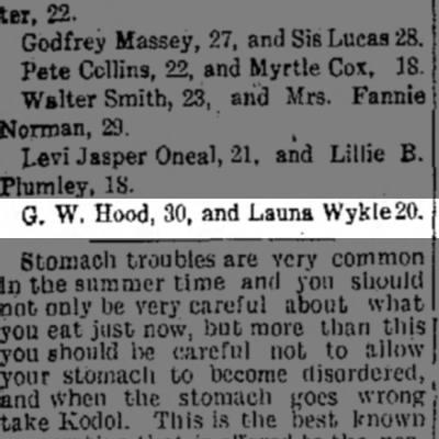 Launa Wykle/George Hood marriage license notice - G. W. Hood, 30, and Launa Wykle20.