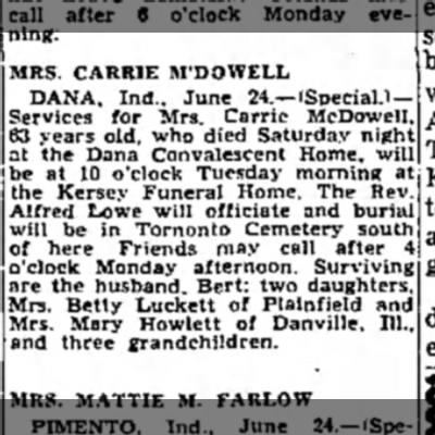 Carrie McDowell Obit - MRS. CARRIE M'DOWELL DANA, Ind.. June...
