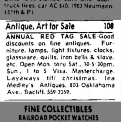 Ina Medley's Antiques - Annual Red Tag Sale - 21 October 1979 -