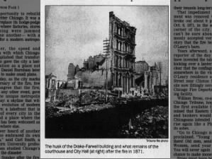 Picture of destruction caused to a building by the Great Chicago Fire of 1871