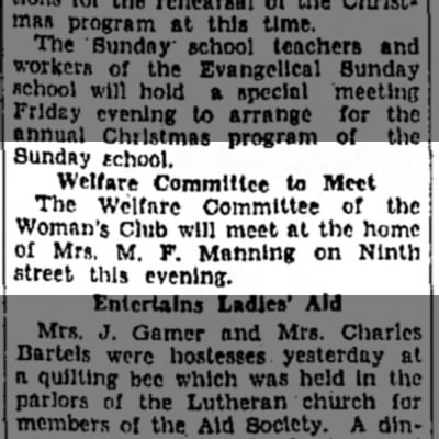 Mrs M F Manning - Sunday school. Welfare Committee to Meet The...