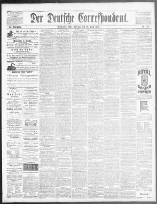 Der Deutsche Correspondent From Baltimore Maryland On June 10 1887 Page 1