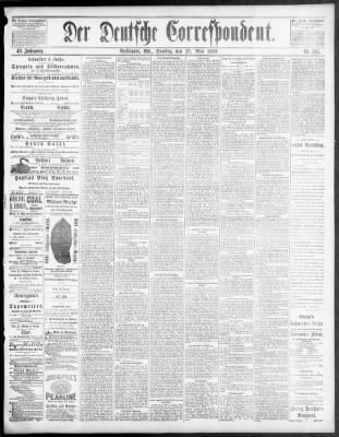 Deutsche Correspondent From Baltimore Maryland On May 25 1889 Page 1