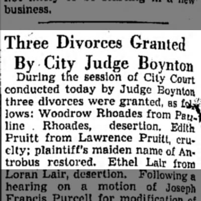 Edith Antrobus-Lawrence Pruitt divorce - Three Divorces Granted By City Judge Boynton...