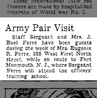 17 May 1942 - Array Pair Visit Staff Sergeant and Mm. J. Buel...