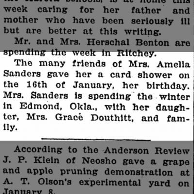 Mrs Grace DouthittJan 21, 1926