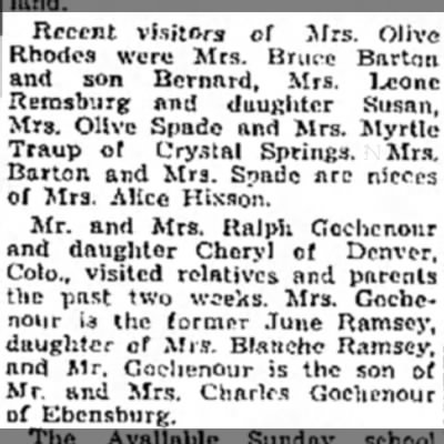 Traup Myrtle - Recent visitors of Mrs. Olive Rhodes were Mrs....