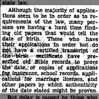 Proof of Age Problem for Pensioners Finding Records Chief Task for Many Applicants Pt5 - Although the majority of applications...
