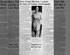 Captain Charles B. McVay III court-martialed by U.S. Navy for loss of USS Indianapolis