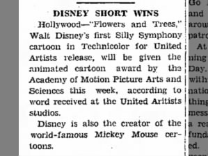 Walt Disney wins the first of his Academy Awards