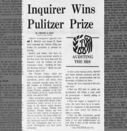 Inquirer wins its first Pulitzer Prize, 1975