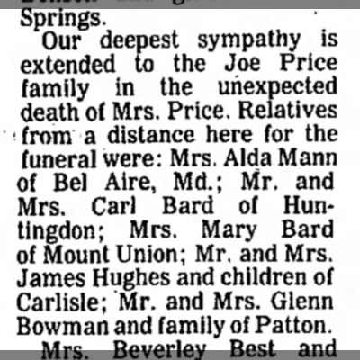 Ruth Bard Price-Sympathy-TDN-p.11-23 Oct 1979 - Springs. Our deepest sympathy is extended to...
