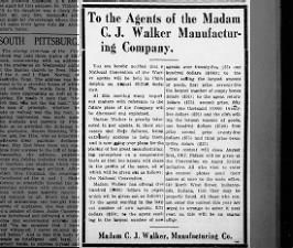 Notice about a national convention for agents of the Madam C.J. Walker Manufacturing Company