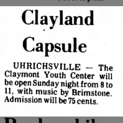 Dover daily reporter July 29 1972 - Clayland Capsule UHRICHSVILLE - The Claymont...