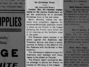Situations at war on Christmas Eve 1915 upset the predictions of a Christmas truce