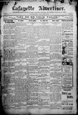 The Lafayette Advertiser from Vermilionville, Louisiana on December 28, 1909 · Page 1