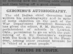 Geronimo writes his autobiography, called