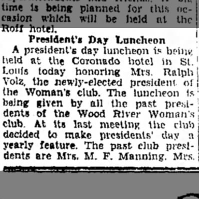 Mrs M F Manning - President'* Day Luncheon A president's day...