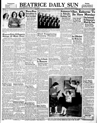 Beatrice Daily Sun from Beatrice, Nebraska on March 26, 1952 · Page 1