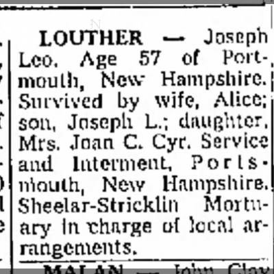 Joseph Leo Louther death notice