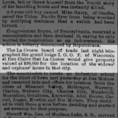 1890 Board Donates Land for Widow and Orphans Home