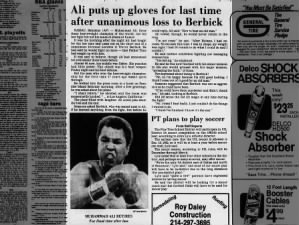 Muhammad Ali retires from boxing in 1981 after losing fight to Trevor Berbick