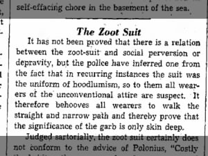 Excerpt from an editorial describing negative police attitudes towards zoot suits
