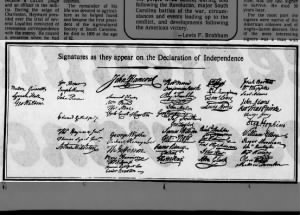 Image of the signatures as they appear on the Declaration of Independence