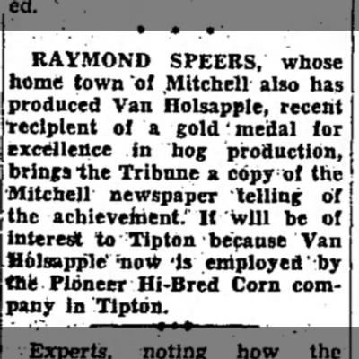 - RAYMOND SPEERS, whose home town ot Mitchell...