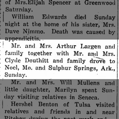 Clyde Douthitt and family drove to Noel. May 22, 1924 Neosho Times