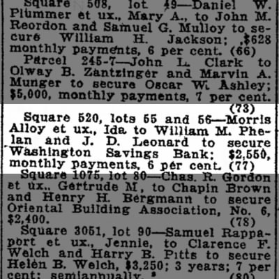 Morris Alloy Deed of Trust on lots 55 and 56 at 4th and Q NE in Wash Post 5/18/1922