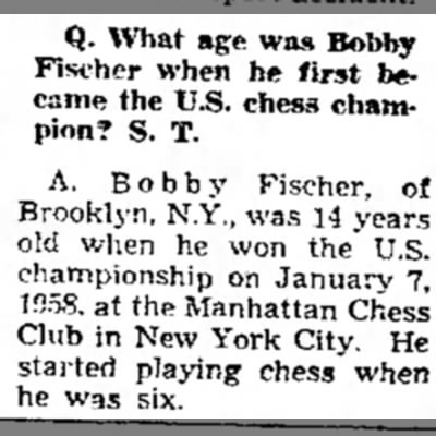 What age was Bobby Fischer when he first became the U.S. chess champion? -