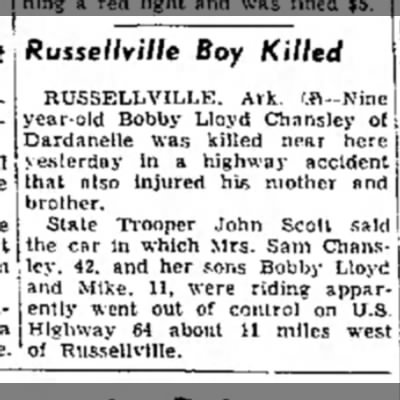 The Courier News (Blytheville, Arkansas) August 3, 1957, pg. 1; Newspapers.com -