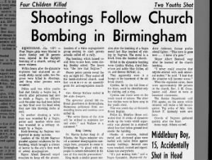 Shootings follow the 1963 bombing of a church in Birmingham, Alabama