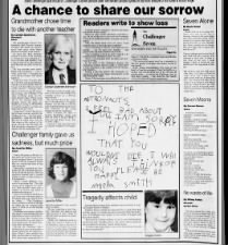 Newspaper readers write in to share their reactions to the Challenger space shuttle disaster