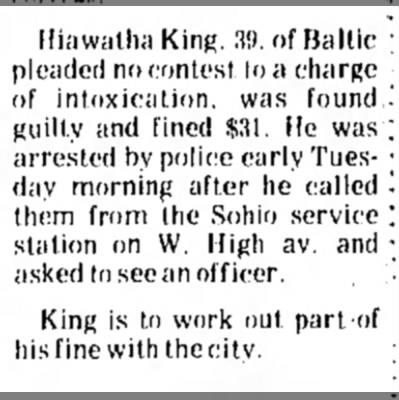 - Hiawatha King. 3!). of Baltic pleaded no...