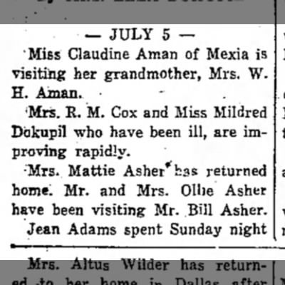 - — JULY 5 — 'Miss Claudine Aman of Mexia is...