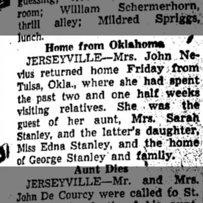 - Home from Oklahoma, JERSEYVILLE—Mrs. John Ne-...