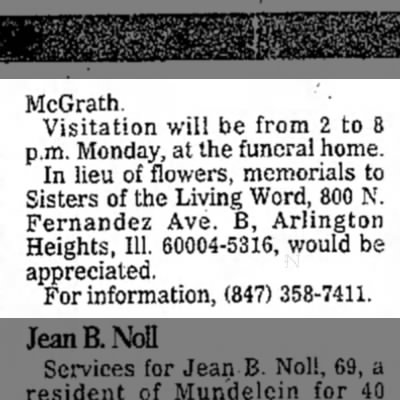- McGrath. Visitation will be from 2 to 8 p.m....